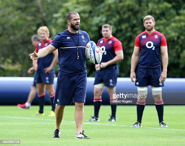 Andy Farrell the England backs coach issues instructions during the England training session held at Pennyhill Park on August 20 2015 in Bagshot...