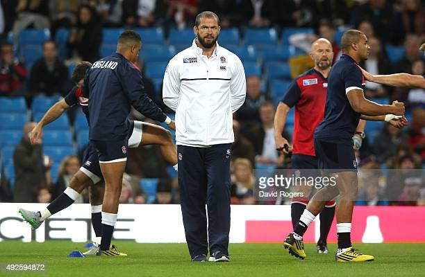 Andy Farrell the England backs coach looks on during the 2015 Rugby World Cup Pool A match between England and Uruguay at Manchester City Stadium on...