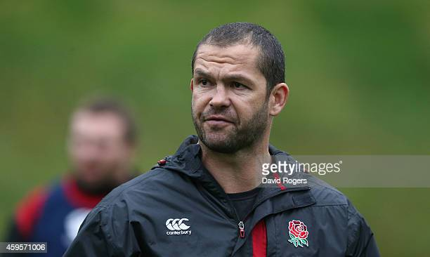 Andy Farrell the England backs coach looks on during the England training session held at Pennyhill Park on November 25 2014 in Bagshot England
