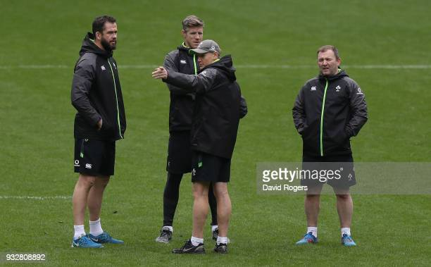 Andy Farrell the Ireland defence coach Simon Easterby forwards coach Joe Schmidt head coach and Richie Murphy kicking coach look on during the...