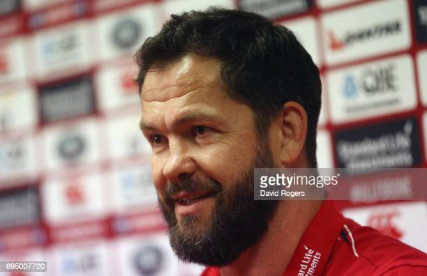 Andy Farrell the Lions defence coach faces the media during the British Irish Lions media conference held at the Southern Cross Hotel on June 12 2017...