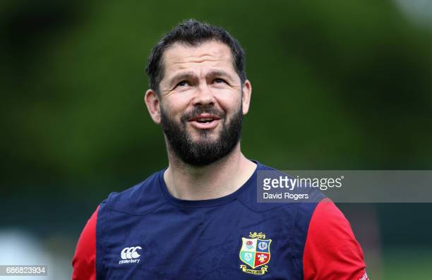Andy Farrell the Lions defence coach looks on during the British and Irish Lions training session held at Carton House Golf Club on May 22 2017 in...