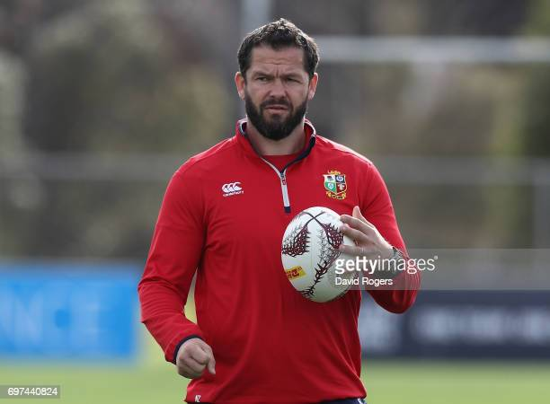 Andy Farrell the Lions defence coach looks on during the British Irish Lions training session at Beetham Park on June 19 2017 in Hamilton New Zealand