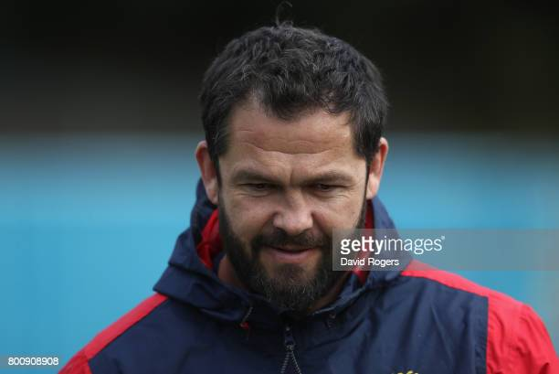 Andy Farrell the Lions defence coach looks on during the British Irish Lions training session held at Porirua Park on June 26 2017 in Wellington New...