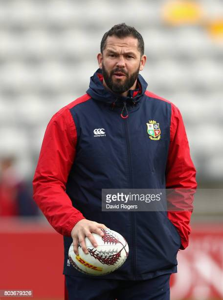 Andy Farrell the Lions defence coach looks on during the British Irish Lions captain's run at Porirua Park on June 30 2017 in Wellington New Zealand