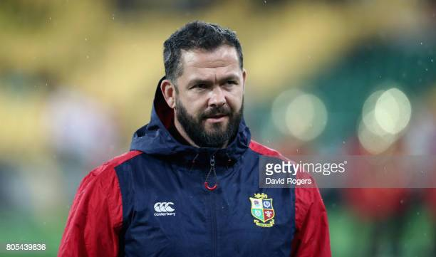 Andy Farrell the Lions defence coach looks on during the match between the New Zealand All Blacks and the British Irish Lions at Westpac Stadium on...