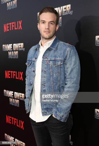 Andy Favreau attends the premiere of the Netflix film 'Game Over Man' at the Regency Village Westwood in Los Angeles at Regency Village Theatre on...
