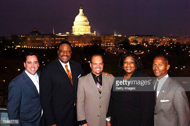 Andy Feffer James Brown Fernando Murias Dawn Ridley and Steve Hocker pose during the VIP reception for the 2007 NFL Players Gala featuring the JB...