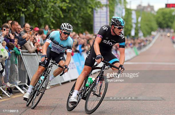 Andy Fenn of Omega PharmaQuickstep and Ian Stannard of SKY Procyling form an early breakaway during the 2013 National Mens Road Race Championships on...