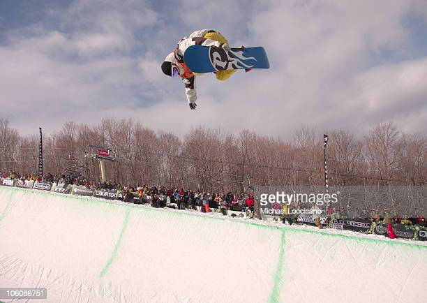 Andy Finch Halfpipe Finals March 18th during 24th Annual Burton US Open Snowboarding Championships at Stratton Mountain in Stratton Vermont United...
