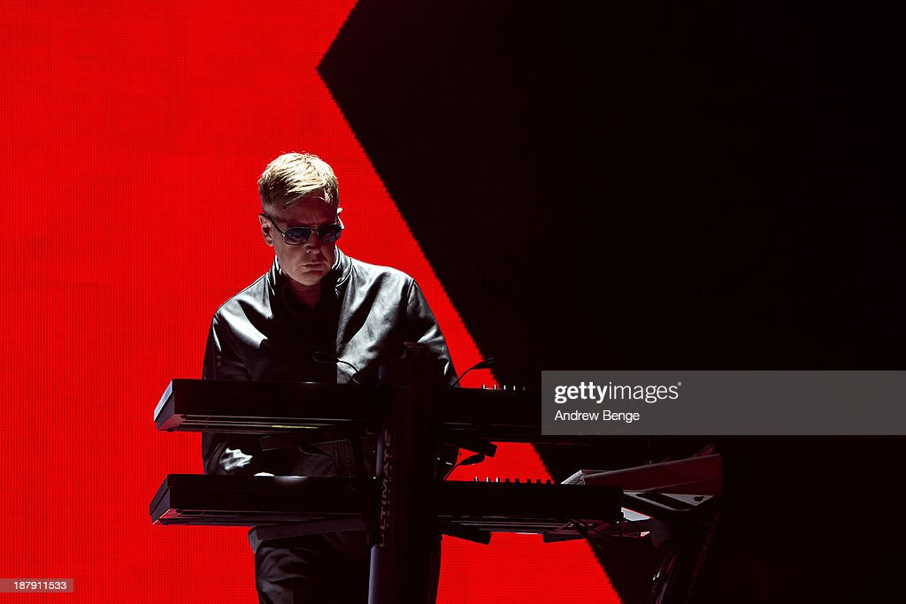 Andy Fletcher of Depeche Mode performs on stage at First Direct Arena on November 13, 2013 in Leeds, United Kingdom.
