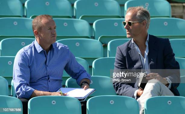 Andy Flower and Ed Smith of England talk during a training session before the fifth Specsavers Test Match between England and India at The Kia Oval...