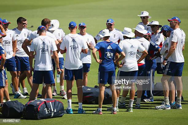 Andy Flower coach of England speaks to his team group before the start of an England nets session at WACA on December 11 2013 in Perth Australia