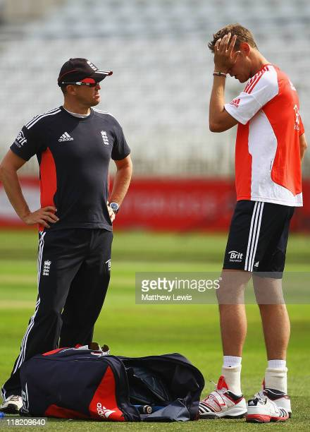 Andy Flower Coach of England talks to Stuart Broad during an England nets session at Trent Bridge on July 5 2011 in Nottingham England