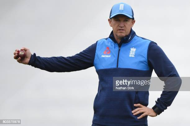Andy Flower head coach of England looks on during the tour match between England Lions and South Africa A at New Road on June 29 2017 in Worcester...