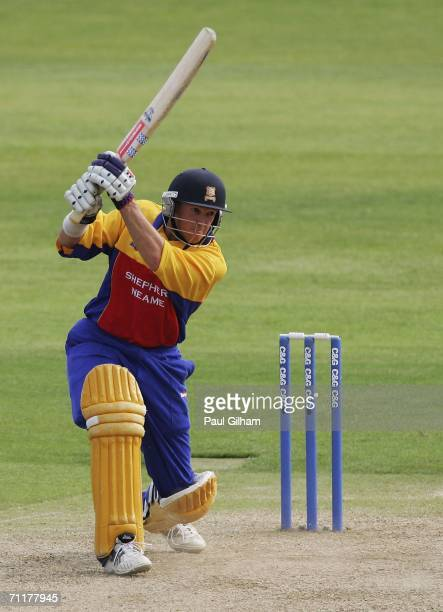 Andy Flower of Essex hits out during the Cheltenham and Gloucester Trophy match between Essex Eagles and Gloucestershire Gladiators at The Ford...