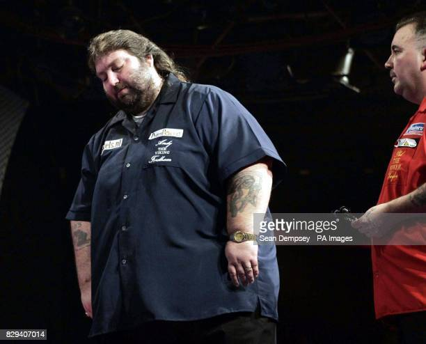 Andy Fordham during The Showdown against Phil Taylor at the Circus Tavern in Purfleet Essex Fordham later retired from the match suffering from heat...