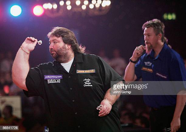 Andy Fordham in action against Australia's Simon Whitlock during the BDO World Darts Championships at the Lakeside on January 8 Frimley Green England