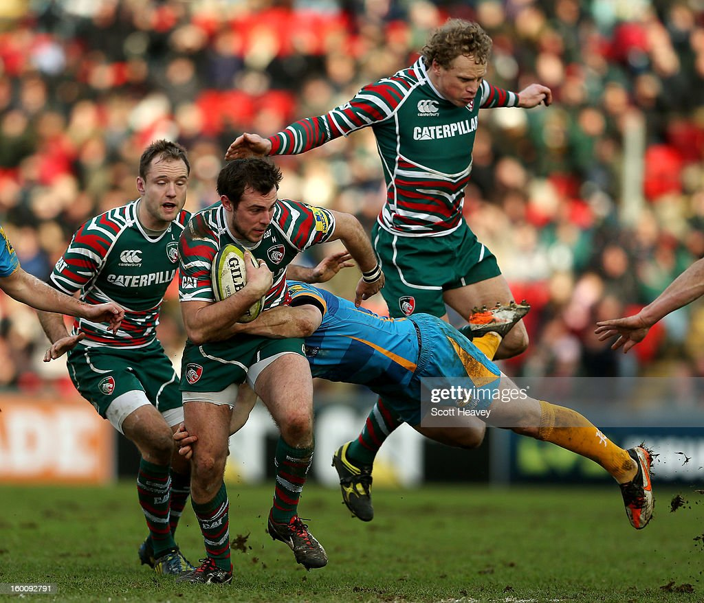 Andy Forsyth of Leicester Tigers in action during the LV=Cup match between Leicetser Tigers and London Wasps at Welford Road on January 26, 2013 in Leicester, England.
