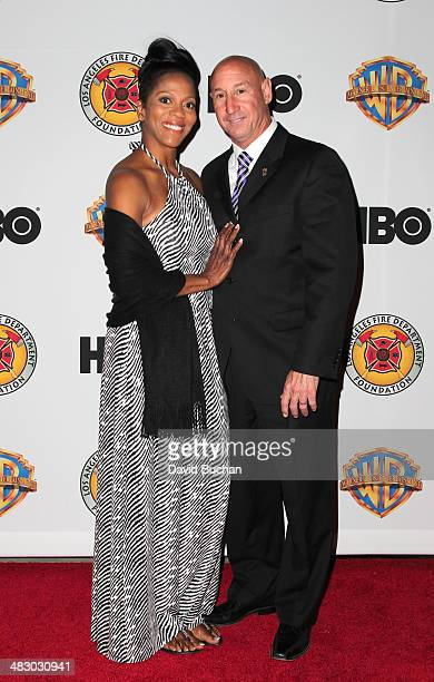 Andy Fox and Letitia Fox attend LA Fire Department Foundation Honors Jerry Weintraub at LAFD Disaster Preparedness Unit on April 5 2014 in Sherman...