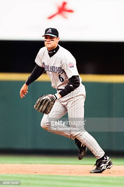 Andy Fox of the Arizona Diamondbacks during the game against the St Louis Cardinals on April 16 1998 at Busch Stadium in St Louis Missouri