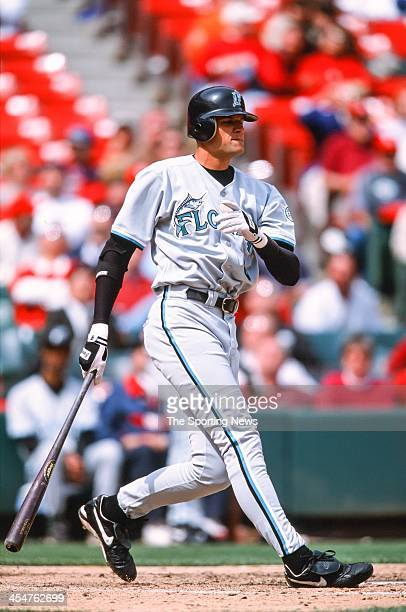 Andy Fox of the Florida Marlins bats during the game against the St Louis Cardinals on May 2 2002 at Busch Stadium in St Louis Missouri