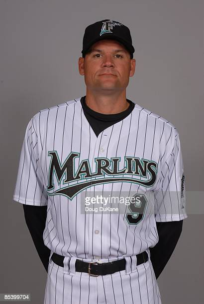 Andy Fox of the Florida Marlins poses during Photo Day on Sunday February 22 2009 at Roger Dean Stadium in Jupiter Florida