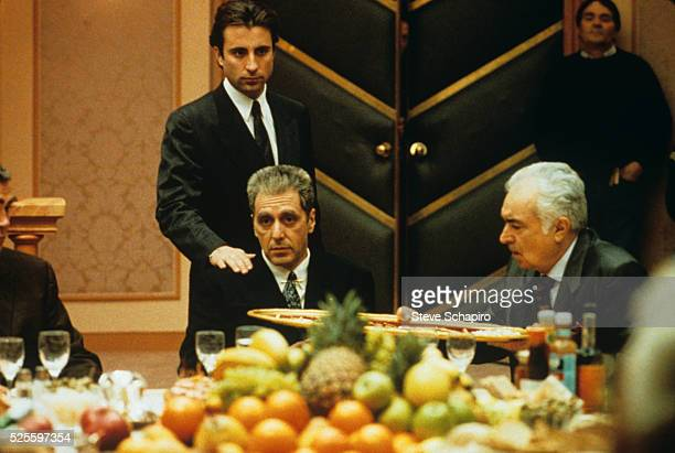 Andy Garcia and Al Pacino during the filming of The Godfather Part 3 1990