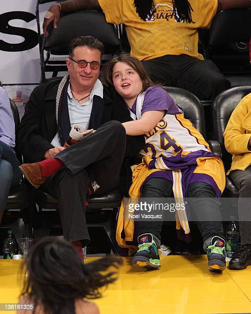 Andy Garcia and Andres Garcia-Lorido attend the Los Angeles Lakers vs Utah Jazz game on December 25, 2011 in Los Angeles, California.