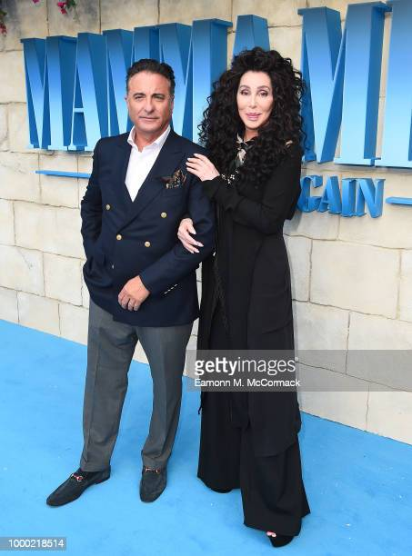 Andy Garcia and Cher attend the 'Mamma Mia Here We Go Again' world premiere at the Eventim Apollo Hammersmith on July 16 2018 in London England