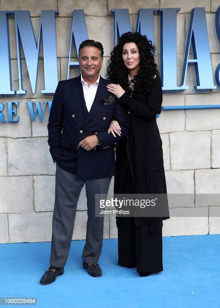 Andy Garcia and Cher attend the UK Premiere of Mamma Mia Here We Go Again at Eventim Apollo on July 16 2018 in London England