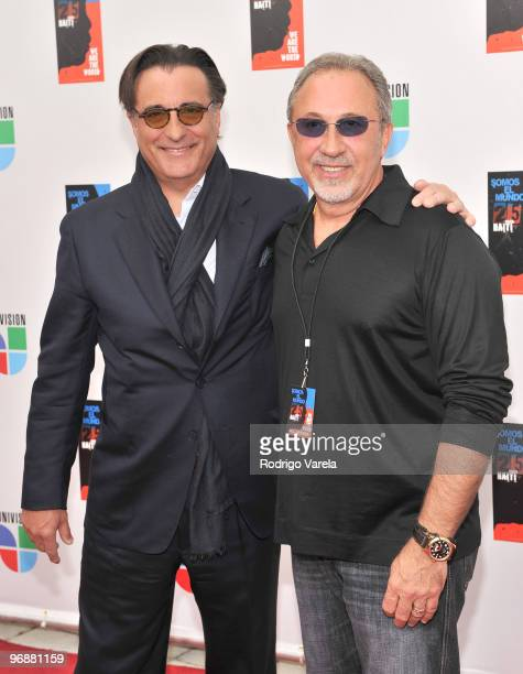 Andy Garcia and Emilio Estefan arrive at recording of 'Somos El Mundo' 'We Are The World' by Latin recording artist at American Airlines Arena on...