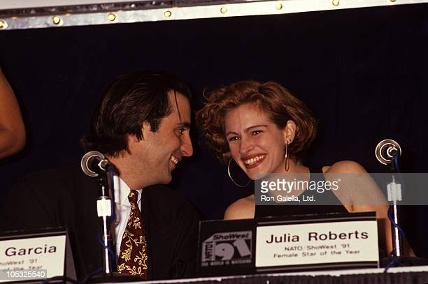 Andy Garcia and Julia Roberts during NATO Showest annual theatre owners convention at Ballys Hotel in Las Vegas Nevada United States