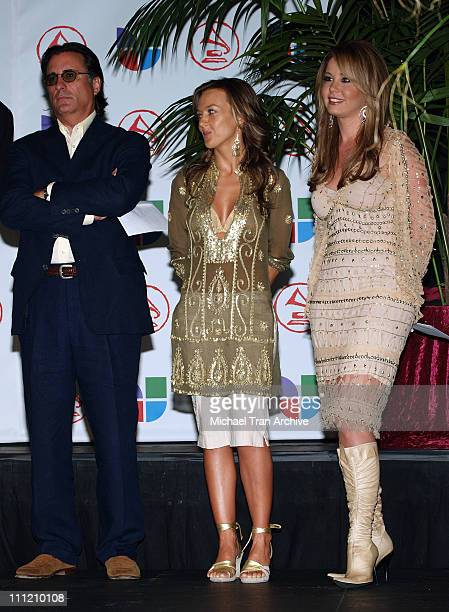 Andy Garcia Fey and Myrka DeLlanos during 6th Annual Latin GRAMMY Awards Nominations at The Music Box @ Fonda in Hollywood California United States