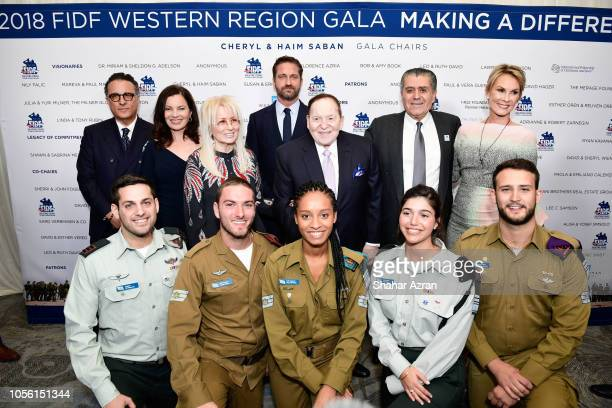Andy Garcia Fran Drescher Dr Miriam Adelson Gerard Butler Sheldon Adelson Haim Saban Cheryl Saban and IDF soldiers attend Friends of The Israel...