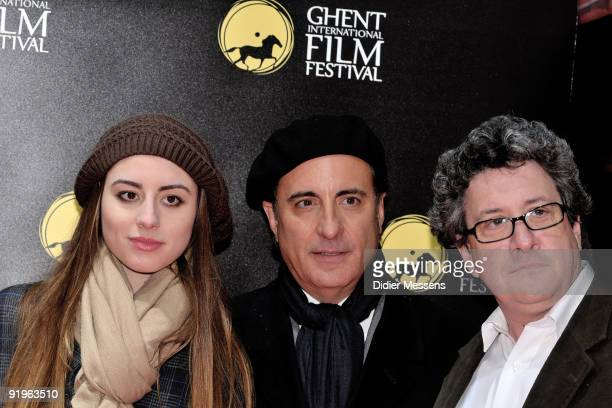 Andy Garcia his daughter Dominik Garcia and Raymond De Felitta visit the Ghent film festival to promote the film 'City Island' on October 16 2009 in...