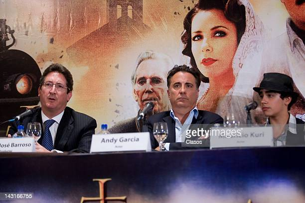 Andy Garcia Jose Pablo Barroso and Mauricio Kuri during the press conference to present the movie Cristiada at Four Seasons Hotel on April 17 2012 in...