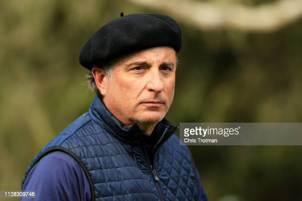 Andy Garcia looks on from the 13th tee during the second round of the ATT Pebble Beach ProAm at Spyglass Hill Golf Course on February 08 2019 in...