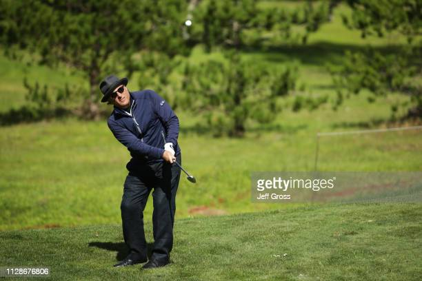 Andy Garcia plays a shot on the third hole during the first round of the ATT Pebble Beach ProAm at Monterey Peninsula Country Club Shore Course on...