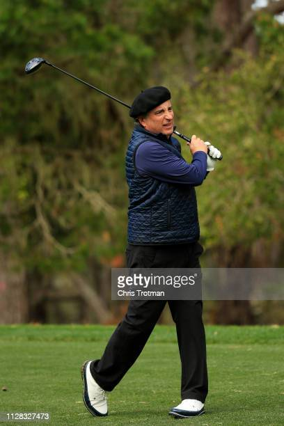 Andy Garcia plays his shot from the 13th tee during the second round of the ATT Pebble Beach ProAm at Spyglass Hill Golf Course on February 08 2019...