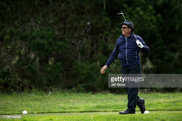 Andy Garcia plays his shot from the 18th tee during the first round of the ATT Pebble Beach ProAm at Monterey Peninsula Country Club Shore Course on...