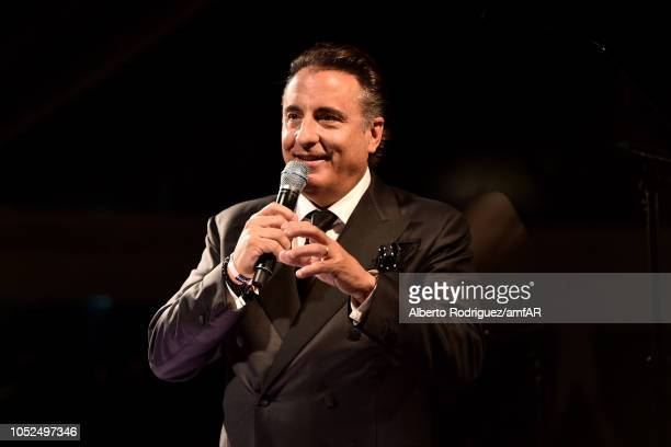Andy Garcia speaks onstage at the amfAR Gala Los Angeles 2018 at Wallis Annenberg Center for the Performing Arts on October 18 2018 in Beverly Hills...