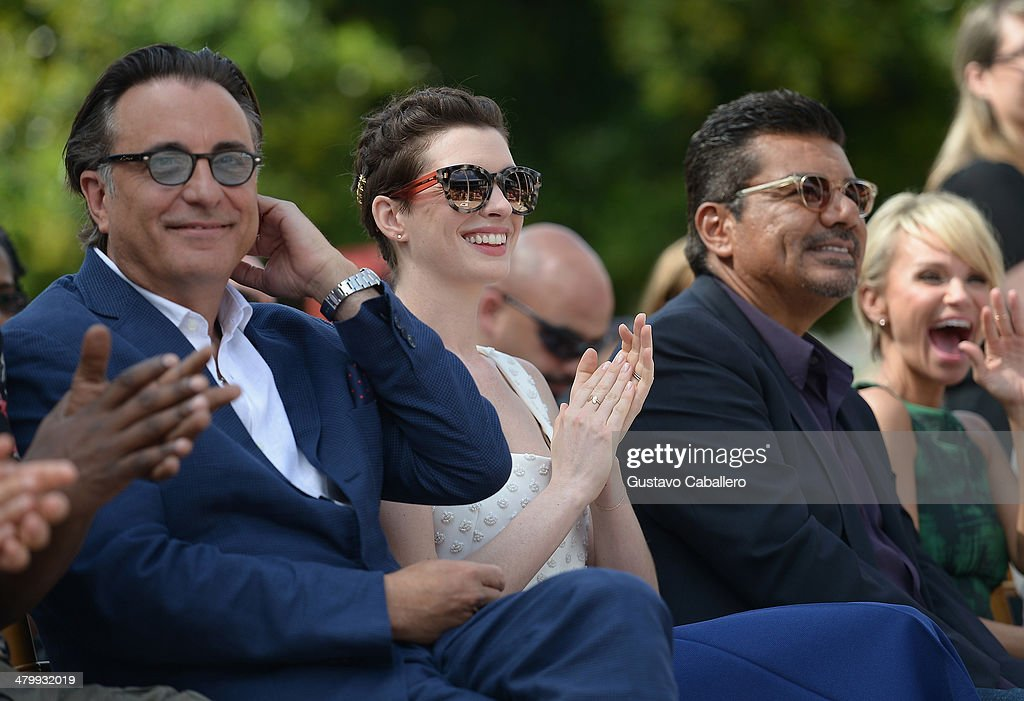 Andy Garcia,Anne Hathaway ;George Lopez and Kristin Chenoweth attends Miami Walk Of Fame Inauguration at Bayside Marketplace on March 21, 2014 in Miami, Florida.