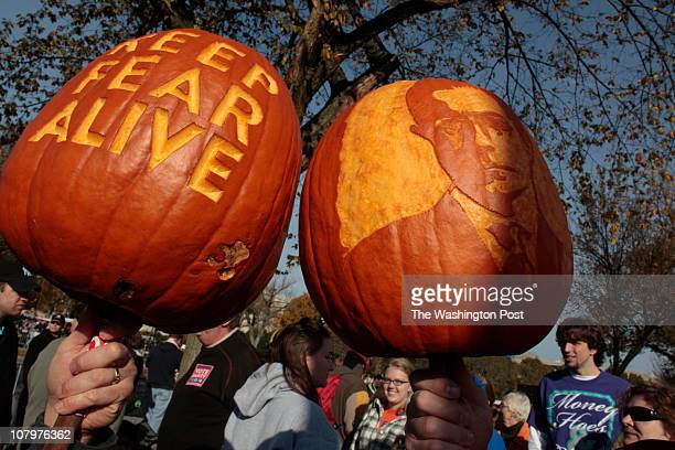 Andy Geremia left of Southington CT and Scott Petersen of Farmington CT came to the Rally to Restore Sanity and Keep Fear Alive on the Mall in...
