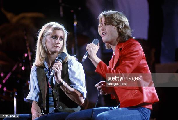 Andy Gibb of the Bee Gees and Olivia Newton-John circa 1979 in New York City.