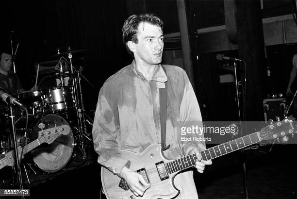 Andy Gill of Gang of Four performing at Club 57 presents at Irving Plaza in New York City on November 13 1980 He is playing an Ibanez Artist 2619...
