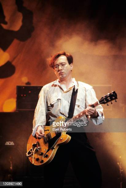 Andy Gill performing with Gang Of Four at Radio City Music Hall in New York City on July 24 1991 He is playing a Gibson ES335 guitar