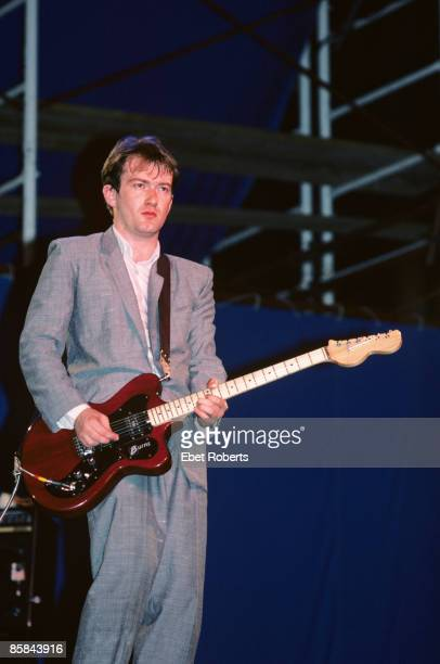 Andy Gill performing with Gang of Four at The Pier in New York City on July 14 1982 He is playing a Burns Magpie electric guitar