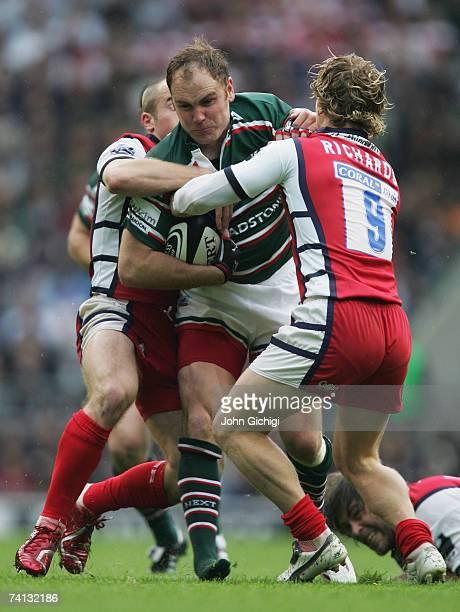 Andy Goode of Leicester is tackled by Peter Richards of Gloucester during the Guinness Premiership final between Gloucester and Leicester Tigers at...
