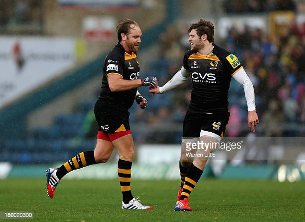 Andy Goode of London Wasps iis congratulated after converting a drop goal during the Aviva Premiership match between London Wasps and Leicester...